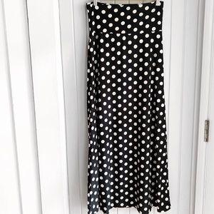 Moa Black and White Polka Dot Slinky Maxi Skirt U